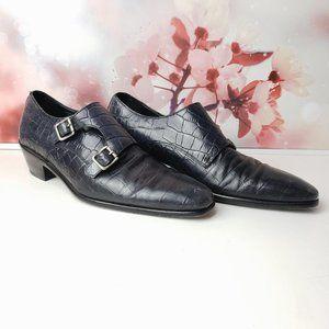 Paul Fredrick Double Monk Strap Croc Embossed Shoe